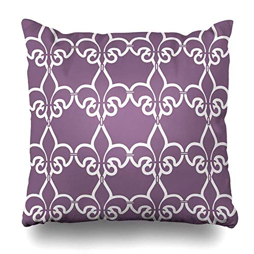 SPXUBZ Purple White Fleur De Lis Chain Cotton Throw Pillow Cover Home Decor Nice Gift Indoor Pillowcase Standar Size (Two Sides)