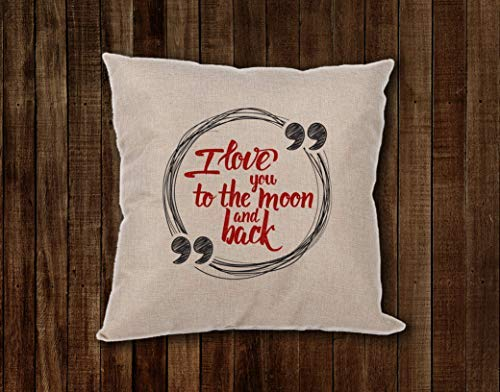 I Love You to The Moon and Back  Pre-Customized Pillow for Your Love Story 16 x16  Great Gift for St Valentine's Day 100% Linen Romantic Pillow by CustomizedbyBilgin [並行輸入品] B07RCDFDZB