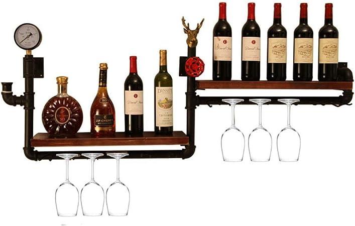 Xmcf Porte Bouteilles Montage Mural Wine Rack Industriel Tuyau Etagere En Bois Rustique Et Noir Metal Alcool Bouteille Porte Stockage Flottant A Vapeur Punk Bar A Vin Etageres Shelf Etagere A Vin Amazon Fr