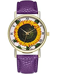 Clearance Sale Sunflower Printing Woman Men Fashion Analog Quartz Round Wrist Watch Leather Strap Watches (