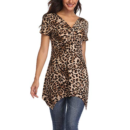Leopard Print Tops for Women V Neck Short Sleeve Twist Front Cheetah Print Tunic Shirt w Asymmetrical Hemline