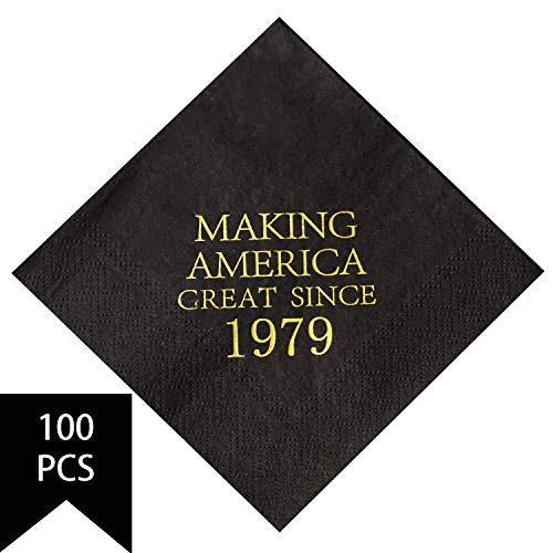 Beverage Great Napkins - Crisky 40th Birthday Napkins Black and Gold Dessert Beverage Cocktail Luncheon Napkins 40th Birthday Decoration Party Supplies, Making America Great Since 1979, 100 Pack 4.9