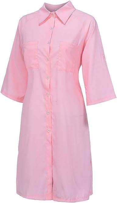 Longzjhd - Vestido de Manga Corta para Mujer con Cuello en V y Accesorios Deportivos Rosa L: Amazon.es: Ropa y accesorios
