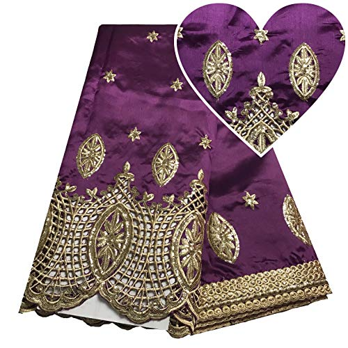 Purple Nigerian Lace Fabric Wedding African Dresses for Women George Lace Fabric Gold Sequin Fabric Swiss ()