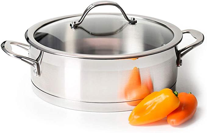GASTRO Premium Shallow Casserole Pot Lid Stainless Steel Saute Pan Induction Wok