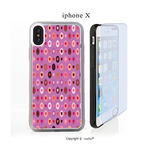 iPhone X Case, vanfan iphone X/10 Case-ide Circular Rounds Valentines Romance Graph(transparence) Design Hard PC Back Protective Cover Skin Case For Apple iphone X-iPhone X Screen Protector - Day Ides Valentines