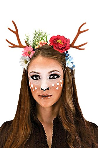 JeVenis Luxury Deer Antler Headband Fawn Horns Costumes Festival Party Hats (One Size, Flower) - Good Quality Halloween Costumes