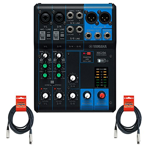 Yamaha MG06 6-Input Stereo Mixer w/ (2) 20' XLR Mic Cables (Yamaha Stereo Mixer compare prices)