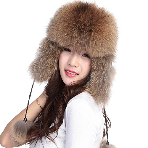 Womens Winter Hat Genuine Fox Fur Russian Trapper Ushanka Hats with Pom Poms (Raccoon)