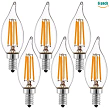 Keymit LED Candelabra Base Bulbs Clear Flame Dimmable Filament - E12 Edison Chandelier Glass - C32 4W Candle Lights Small Bulb - 2700K - Equivalent 25W - 40Watt 6PACK