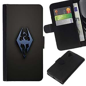 NEECELL GIFT forCITY // Billetera de cuero Caso Cubierta de protección Carcasa / Leather Wallet Case for LG Nexus 5 D820 D821 // Dragón Sigil