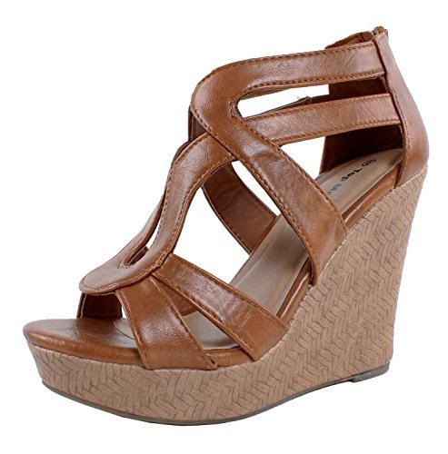 Leather Wedge Heels Tan Shoes (JJF Shoes Lindy-1 Tan Faux Leather Gladiator Strappy Dress Platform High Wedge Sandals-5.5)