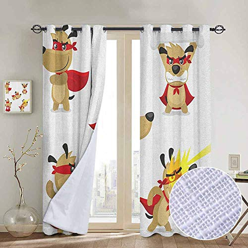 NUOMANAN Curtains for Bedroom Dog,Superhero Puppy with Paw Costume and Mystic Powers Laser Vision Supreme Talents, Red Cream White,Darkening and Thermal Insulating Draperies 52