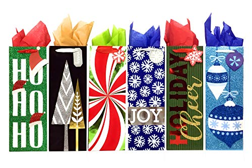 Wine Bottle Holiday Gift Bags with Tissue Paper (6 Bottle Bags + Tissue, Holiday Cheer)
