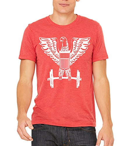 Interstate Apparel Men's Eagle Dumbbells Workout Red Tri Blend T-Shirt 3X-Large - Work Eagle Clothes