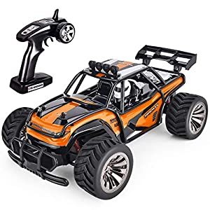 GotechoD Remote Control Truck RC Car Off Road 1:16 Scale Desert Buggy Vehicle 2.4GHz Radio Controlled High Speed Electric Race Truck Hobby Crawler with 2 Recharger Batteries 1 Screwdriver Orange