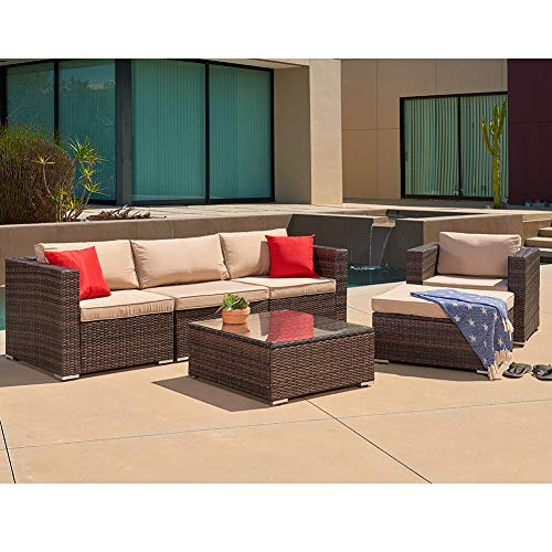 SUNCROWN Outdoor Furniture Sectional Sofa and Chair (6 Piece Set) All-Weather Checkered Wicker Seat Cushions and Modern Glass Coffee Table, Patio, Backyard, Pool, Waterproof Cover (Outdoor Furniture Monday Deals Cyber)