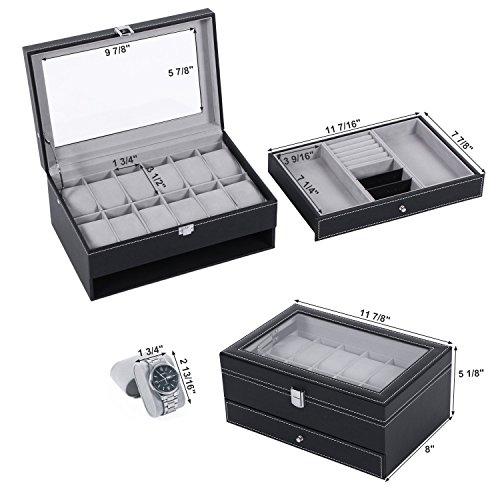 BEWISHOME Watch Box Organizer Case 12 Mens Jewelry Display Drawer w/Adjustable Tray Glass Top Black PU Leather SSH02B by BEWISHOME (Image #6)