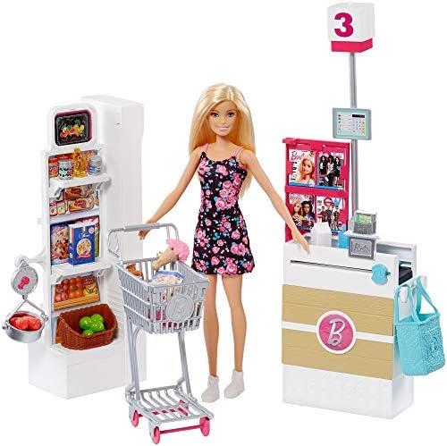 Barbie FRP01 Supermarché Supermarkt und Puppe, Mehrfarbig