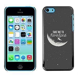 Qstar Arte & diseño plástico duro Fundas Cover Cubre Hard Case Cover para Apple iPhone 5C ( Take Me To The Moon Grey Black Night Cosmos)