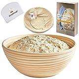 Large Banneton Proving Basket | 10 inch 25cm | Round Bread Proofing Basket | Natural Rattan Sourdough Proving Basket| Free EBOOK | Professional Bread Proving Bowl | Brotform for Artisan Bread