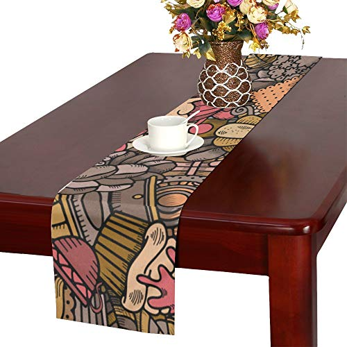 WHIOFE Cafe Project Almond Caramel Coconut Hazelnut Raspberry Design Table Runner, Kitchen Dining Table Runner 16 X 72 Inch for Dinner Parties, Events, - Cafe Runner Table Latte
