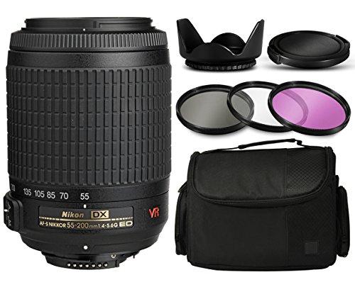 Nikon AF-S DX VR Zoom-NIKKOR 55-200mm f/4-5.6G IF-ED Lens 2166 with 3 Piece Filter Kit + Flower Tulip Lens Hood + Protective Lens Cap + Large Padded Case + Dust Care Cleaning Kit + $50 Gift Card for Nikon DF D7200 D7100 D7000 D5500 D5300 D5200 D5100 D5000 D3300 D3200 D3100 D3000 D300S D90 D60 DSLR SLR Digital Camera