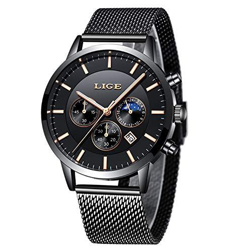 Mens Watches Top Brand Luxury Black Mesh Steel Strap Casual Quartz Watch Men Fashion Sports Wrist Watch