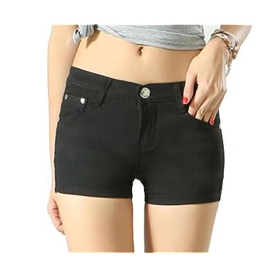 Abetteric Women Short Summer Shorts Skinny Summer Leisure Mulit Color Shorts Jeans Black 2X