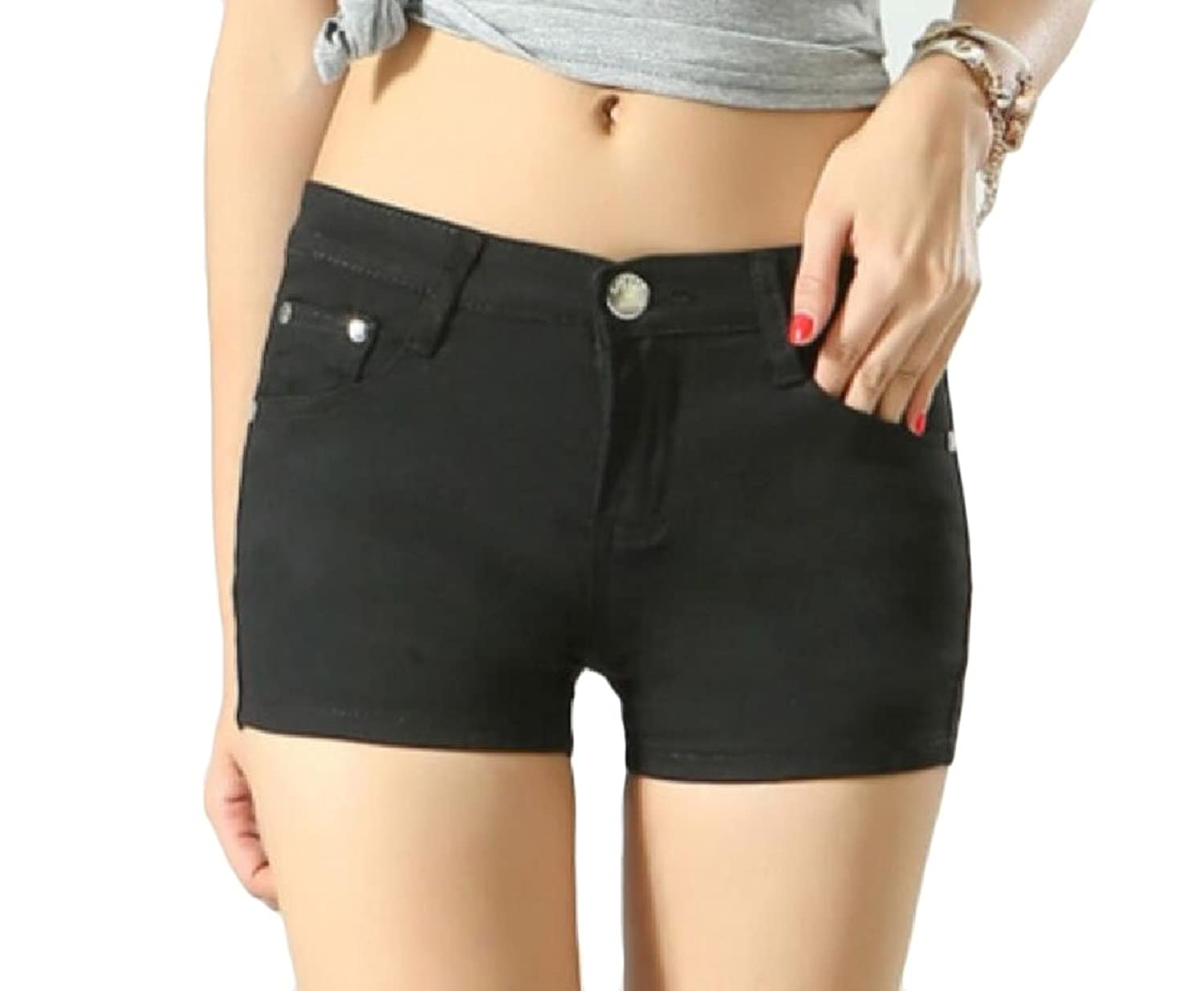 48a340ebcb99 Abetteric Women Short Summer Shorts Skinny Summer Leisure Mulit Color Shorts  Jeans Black S