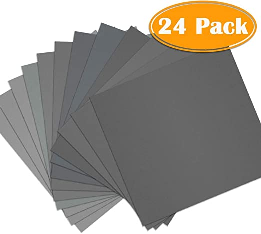 Metal Polishing 24pcs Wet Dry Sandpaper Wood by BAISDY 9 x 11 Inch Assorted Sandpaper Sheets 400//600// 1000//1200// 1500//3000 Grit for Automotive Sanding
