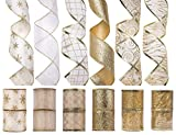 iPEGTOP Christmas Wired Ribbon, Assorted Shimmer Organza Glitter Gift Wrapping Ribbons DIY Craft Wedding Decorations, 36 Yards (12 Roll x 3 yd) by 2.5 inch, White / Gold
