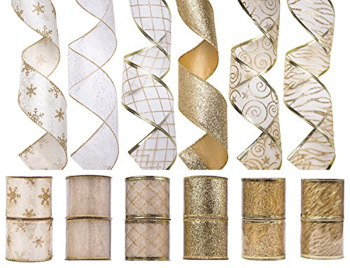 iPEGTOP Christmas Wired Ribbon, Assorted Shimmer Organza Glitter Gift Wrapping Ribbons DIY Craft Wedding Decorations, 36 Yards (12 Roll x 3 yd) by 2.5 inch, White / - Christmas Ribbons