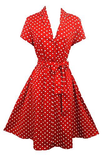 Neue Rosa rot Rosa gepunktet Weltkrieg, 1940 er-Stil farblich abgesetzter Rand classic Schaukel Kleid Shirt