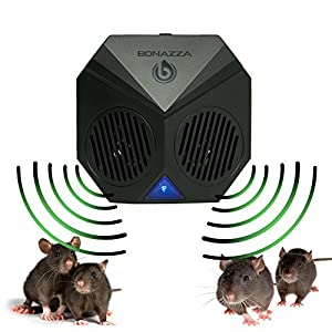 BONAZZA Mice Repellent Plug-in Ultrasonic Pest Repeller Best For Garages, Attics and Basements - Electronic Pests Control Products To Get Rid Of Bugs Insects and Rodent - Mouse & Rat Repellent