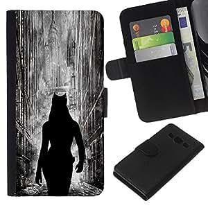 YiPhone /// Tirón de la caja Cartera de cuero con ranuras para tarjetas - Cat Woman City - Samsung Galaxy A3