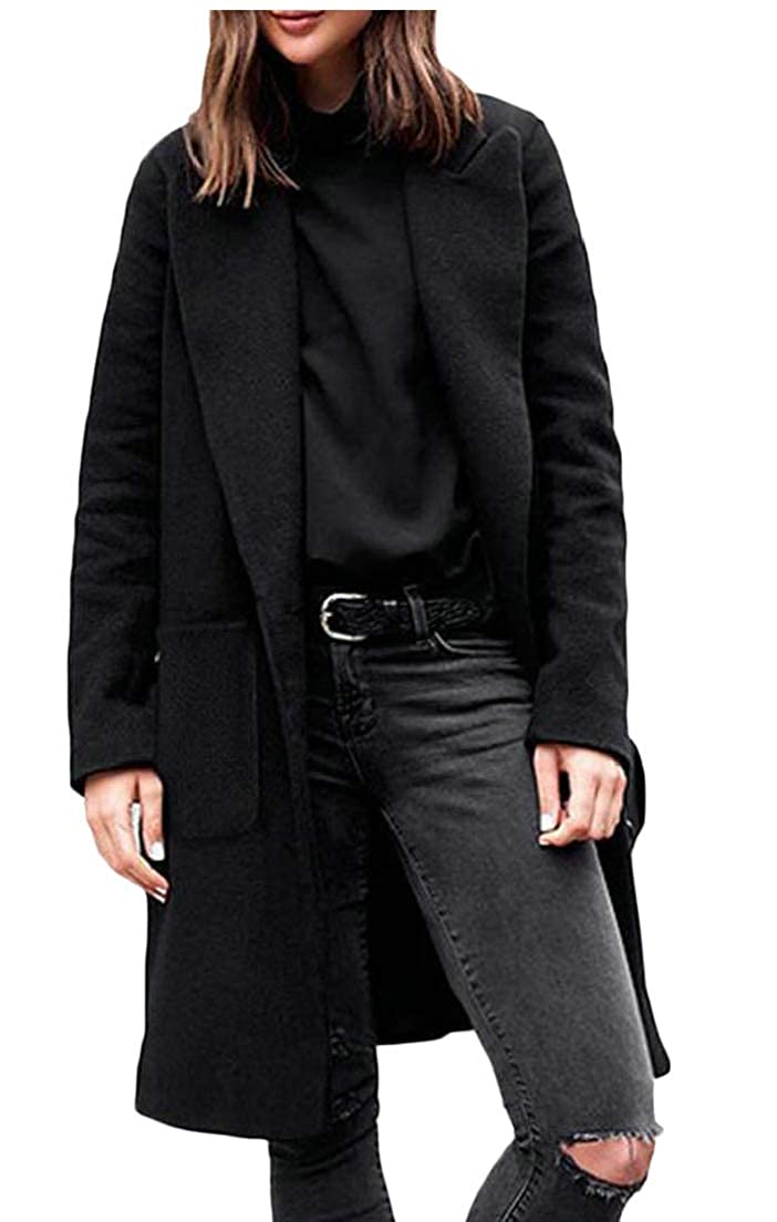 1 Esast Womens Solid Slim Lapel Wool Blend Single Breasted Peacoat