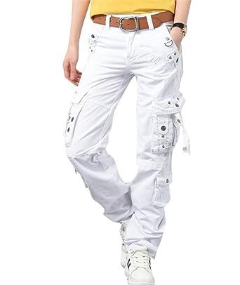 6c7f077e7b42 Ghope Femme Pantalons Cargo Militaire Blanc Casual Stretch Straight  Jambière Pantalons mit Décoration de boutons Grande Taille  Amazon.fr   Vêtements et ...