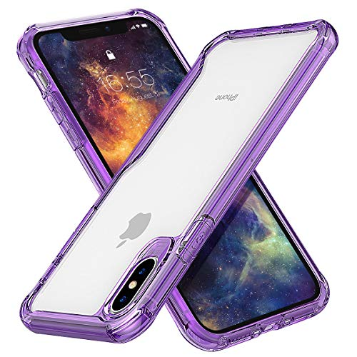 - MILPROX iPhone Xs MAX Case Ultra Thin Slim Transparent Crystal Clear PC Back Cover with Rubber TPU Bumper, Shockproof Anti-Scratch case for iPhone Xs MAX 2018 (Clear Purple)