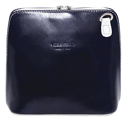 Small Leather Cross Bag Handbag Italian Navy White Shoulder Genuine in Black or Body 5qBtEBw