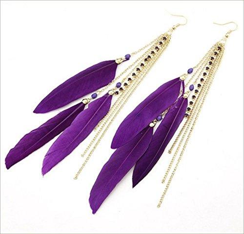Leiothrix Boho Feather Earrings for Women Handmade Vintage Wedding Tassel Earrings Drop Bridal Dangle Earrings Statement Earring for Girls (Purple)