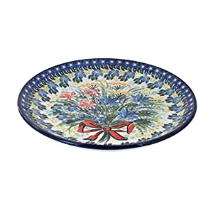 Blue Rose Polish Pottery Day Lily Bouquet Dessert Plate