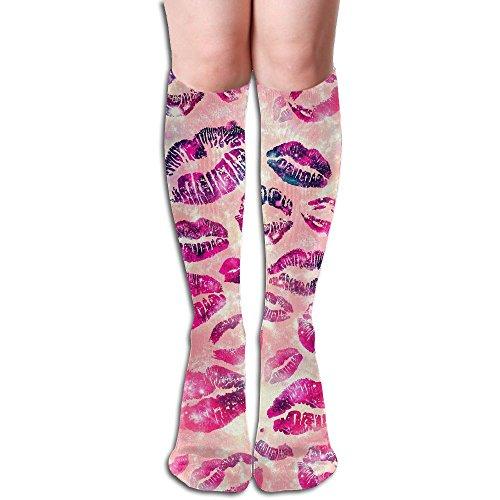 指導する粘り強い爆発リップスティック ストッキング 3D デザイン 女性男性 秋と冬 フリーサイズ 美脚 かわいいデザイン 靴下 足元パイル ハイソックス メンズ レディース ブラック サイハイソックス