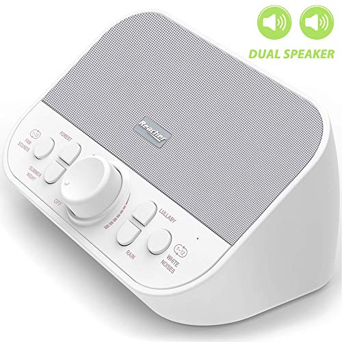 K-star White Noise Machine-Sound Machine Maker for Sleeping with 28 Soothing Relaxing Rain Spa Fan Lullaby Nursery Nature Sound Therapy for Baby Adult Office Privacy,High Quality Speaker,4 Sleep Timer (Star White Natural)