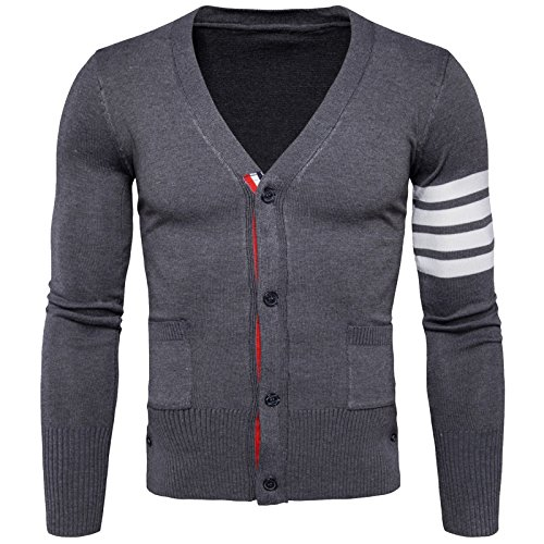 WSLCN Mens Winterwear Knit Cardigan V Neck Long Sleeve Buttoned Sweater Dark Grey US XS Asian M