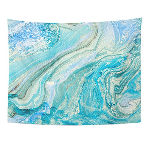 Emvency Tapestry Watercolor Marble Blue Marbling Creative with Abstract Oil Waves Liquid Paint Mix Detail Home Decor Wall Hanging for Living Room Bedroom Dorm 60x80 inches