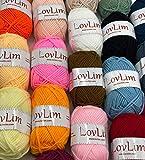 LovLim Crochet Yarn kit, 24 Soft Cotton Yarn skeins for Crochet and Knitting, 1800 Yards Craft DK Yarn, Free Crochet/Amigurumi Patterns, Perfect Starter kit