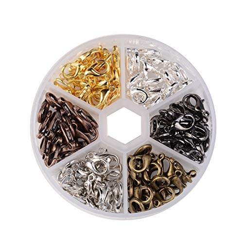 Pandahall 240pcs/box 6 Colors Alloy Lobster Claw Clasps 10x6mm DIY Jewelry Bracelet Necklace Making Fastener Hooks