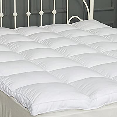 """DUO-V HOME Mattress Topper Goose Down Alternative Hypoallergenic Plush 2"""" Thick Quilted Mattress Pad Fluffy and Firm with 4 Straps Hotel Quality 5 Year Warranty by (39''x75'')"""