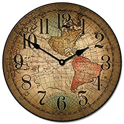 Vincenzo World Map Wall Clock, Available in 8 Sizes, Most Sizes Ship The Next Business Day, Whisper Quiet.